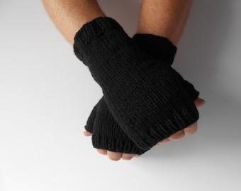 Men's Knit Fingerless Gloves. Gift for Him.  Men's Texting Gloves. Men's Black knit gloves. Handknit Mittens. Knitted Gloves. Ready to Ship