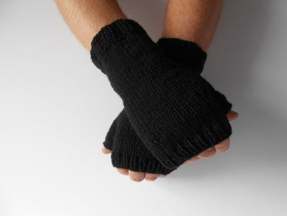 Mens Knit Fingerless Gloves. Mens Texting Gloves.