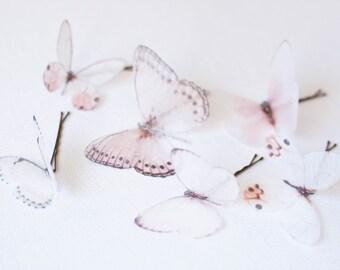 6 Silk Organza Butterfly Hairpins, Butterfly Headpiece, Butterfly Clips, Silk Butterfly Hair Clip, Butterfly Bridal Hairpins, bohemian #215