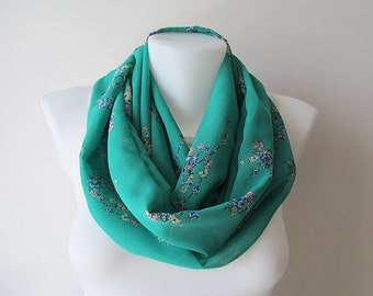 Green Infinity Scarf, Floral Pattern Chiffon Scarf, Circle Scarf, Loop Scarf, Women Accessories, Fall Winter Spring Summer Fashion, For Her