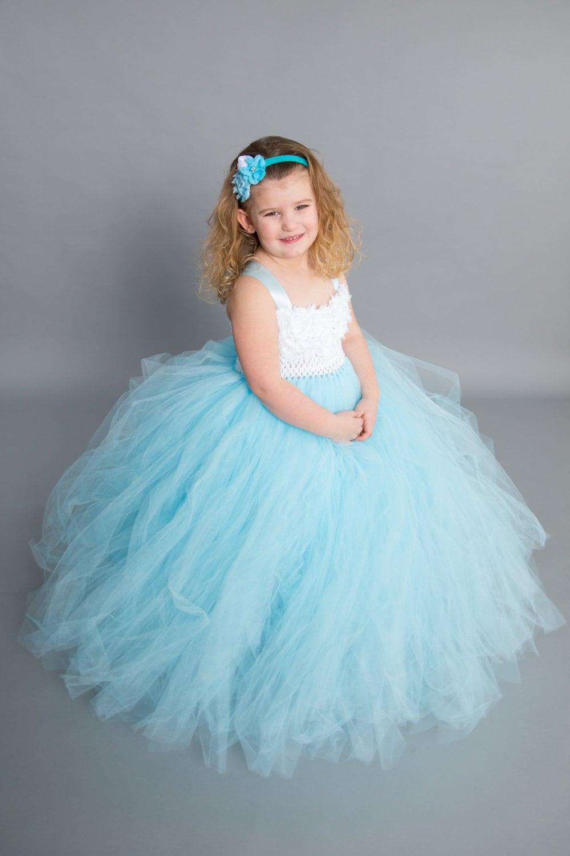 Flower girl dress Tulle flower girl dress Blue Dress