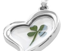 Real 4 Leaf Clover Heart Pendant / Shamrock Pendant / Lucky Charm Pendant /  St Patrick Pendant w/ Sterling Silver .925 Plated Necklace