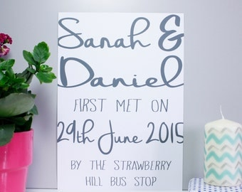 Personalised Typography 'First Met' Couples Print