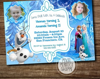 Sibling Birthday Invitation, Invitation for Twins, Invitation with Two Names and Two ages, Frozen Invitations, Birthday Invitations