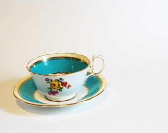 Vintage Aynsley Teacup - Teal with Flowers and gold 1950's