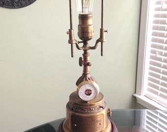 One of a kind handmade steampunk recycled brass and wood lamp with built in dimmer