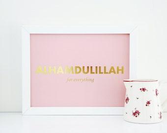 Alhamdulillah Islamic Gold Foil Print Pink