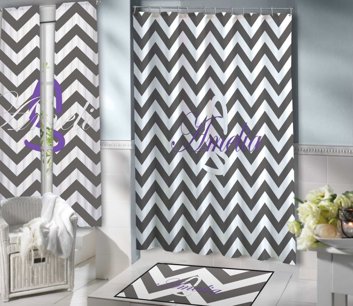 Gray And White Chevron Shower Curtain Purple Extra Long