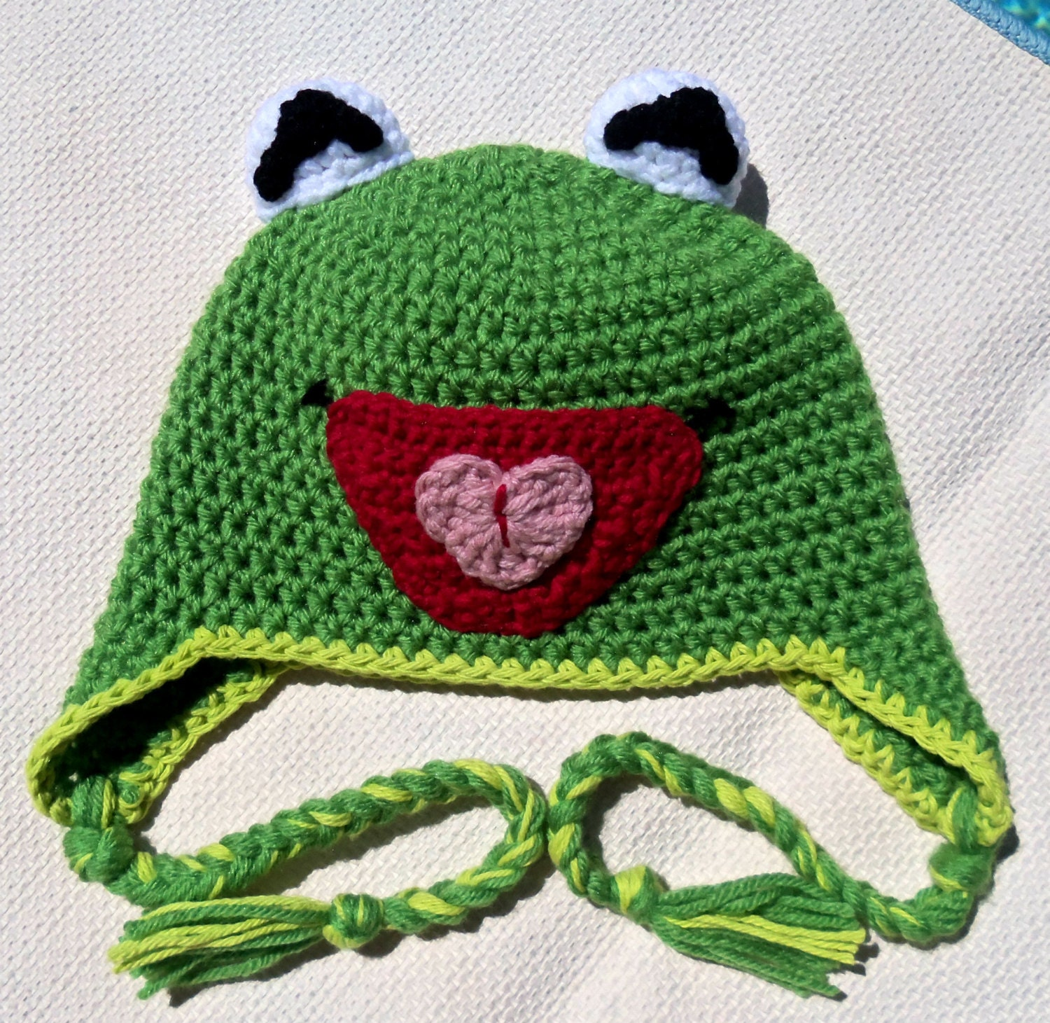 kermit the frog crochet hat hats womenhats for by Handmade75