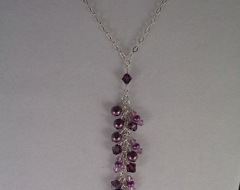 Burgundy, Mauve, Fuchsia and Lilac Swarovski Crystal and Pearl Y-Necklace