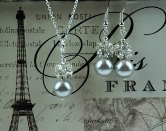 Silver Bridesmaid Jewelry Grey Bridesmaid Jewelry Silver Bridesmaid Earring Crystal Bridal Jewelry Rhinestone Bridal Necklace Grey Earring