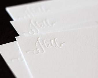 """Letterpress Note Cards, Set of 5 'Hello' 3.5"""" x 5"""""""