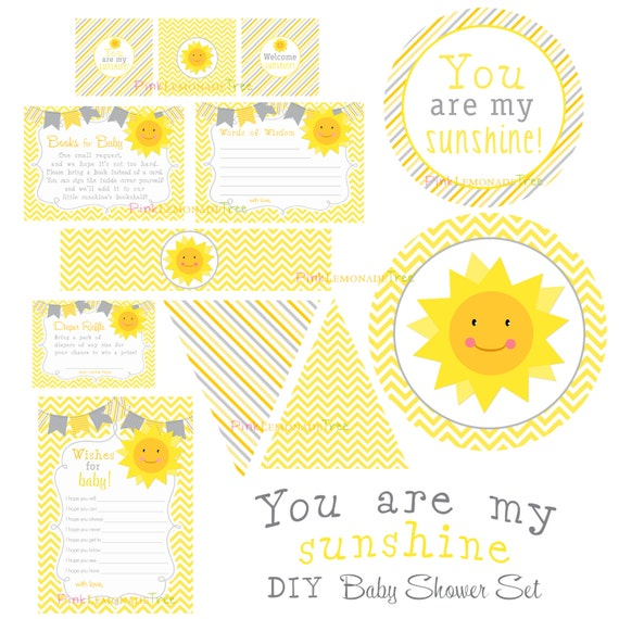 you are my sunshine baby shower set yellow and gray decorations diy