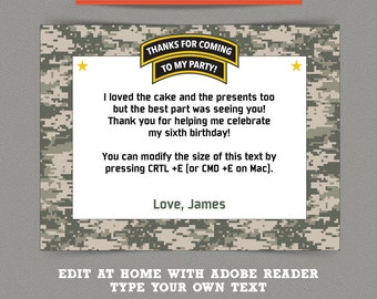 Army Party printable Thank you Cards - Editable PDF file - Print at home