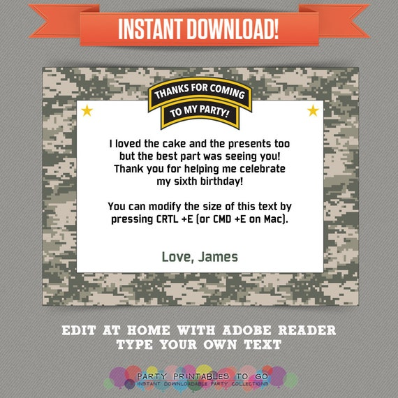 Army Party Printable Thank You Cards Editable Pdf File Print At