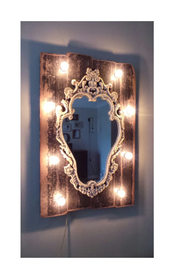 Dark Wood Rustic Chic Light Up Vanity Mirror by marqueemarket