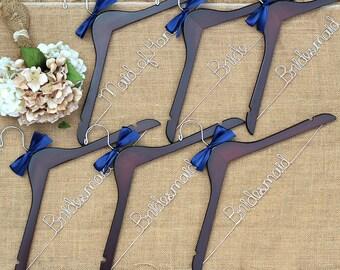 Set of 6 Personalized Bridal Hangers, Custom Hanger, Wedding Party Hangers, Bridesmaid Gift, Bride Hanger, Mrs Hanger