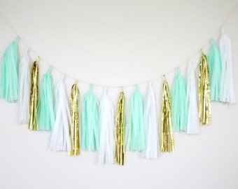 Mint Green and Gold Tassel Garland - Mint Party Decor, Mint Green Wedding Decor, Mint Bridal Shower Decor, Mint Nursery, Mint Baby Shower