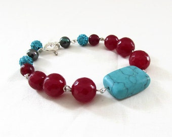 Semi precious gemstone bracelet, turquoise and ruby quartz, handmade in the UK