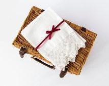 Beautiful Vintage Edwardian White Delicate Single Huckaback Towel, Crochet Edges