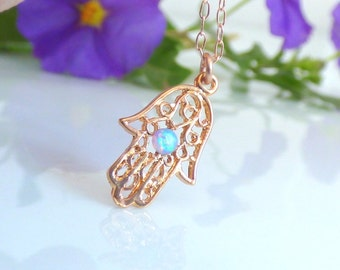Gold Hamsa Necklace, Rose Gold Hamsa Necklace ,Rose Gold Hand Necklace, Rose Goldfilled Hamsa Necklace with blue opal , Gold Necklace.