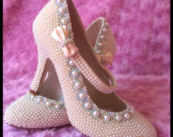 Bridal Ivory Cream Pearl Encrusted Embellished wedding bridal shoes with ab crystals size 4 (37)