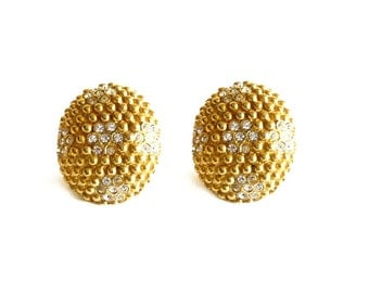 YVES SAINT LAURENT ~ Authentic Vintage Gold Plated Clip On Earrings - Crystal Clear Rhinestones