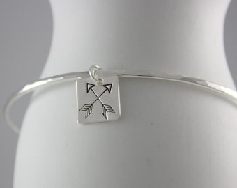 Arrow Bracelet, Sterling Silver Bangle, Friendship Bracelet, Hammered Bangle, Crossed Arrows Jewelry