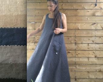 Linen Maxi Tank Dress - Pockets - Misses Country
