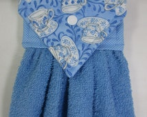 Teacup Hanging Hand Towel, Blue Teacup Decor, French Country Kitchen Towel, Cottage Chic Kitchen Hanging Towel, Cornflower Blue Hand Towel