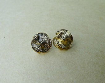 Gold Button Earrings, Small Plastic Stud Earrings, Button Post Earrings, Plastic Button Earrings