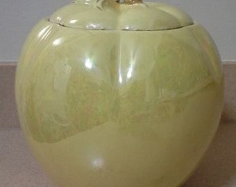 Mid Century Ceramic Lusterware Yellow Apple Cookie Jar, Primitive Cookie Jars, Cookie Jars, Primitive Kitchen Decor, Mid Century Cookie Jars