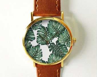 Tropical Palm Leaves Watch, Vintage Style Leather Watch, Women Watches, Boyfriend Watch, Men's watch, Summer Green, Tropical Leaf Plants