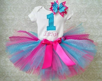 Sparkle Turquoise and Pink 1st Birthday Tutu Outfit