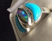 Ethiopian Opal, Silver Opal Fashion Ring , Blue Turquoise Ring, Opal and Turquoise Ring, Size 9 Ring, Unisex Ring, Man's Ring, Women's Ring