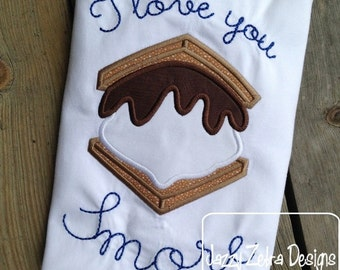Smore Applique embroidery Design - s'more appliqué design - smore applique design - camping appliqué design - campfire appliqué design