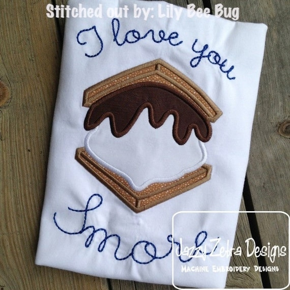 Smore Applique embroidery Design - s'more appliqué design - smore applique design - camping appliqué design - campfire appliqué design