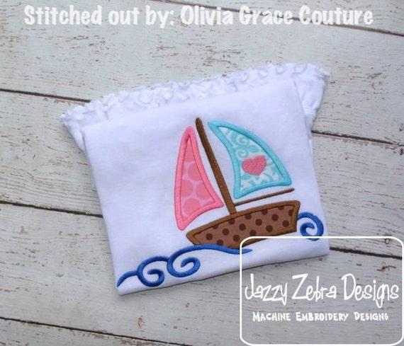 Sail Boat 71 Appliqué embroidery Design - boat appliqué design - beach appliqué design - sailing appliqué design - summer appliqué design