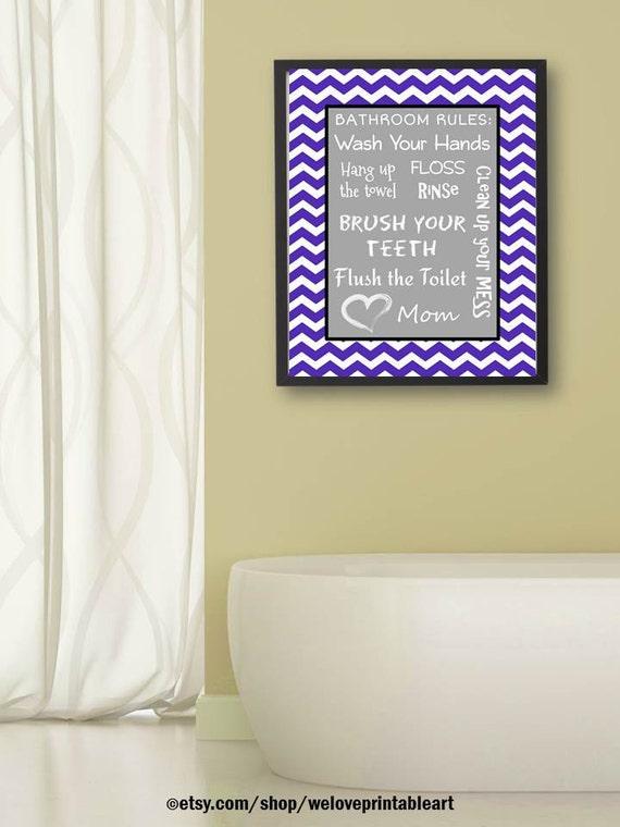 Items similar to kids bathroom decor art gray purple for Bathroom decor etsy