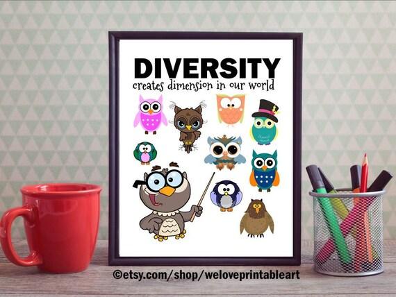 Teacher Classroom Wall Decor ~ Teacher classroom decor owl diversity quote wall
