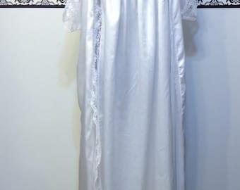 Vintage Wedding White Peignoir and 20's Nightgown Set by Carole Hochman, Medium, 80's does 20's Teddy and Peignoir, 1920's Downton Bridal