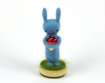 Needle Felted Rabbit with Toadstool