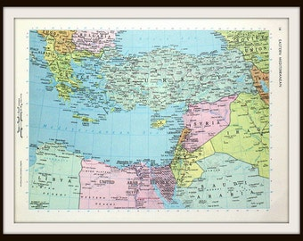 Eastern Mediterranean Map, 12 x 9 Book Plate Art Print, Large Colorful 1960's Map, Ready to Frame
