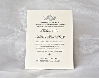 Silver Wedding Invitation Silver LOVE BIRDS Letterpress Wedding Card Silver Foil Invite. Sample.