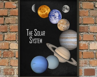 The Solar System Wall Art Poster - NASA Image - Astronomy Print - Cosmos Home Decor - Space Boys Bedroom Decor - Earth Sun Planets Poster