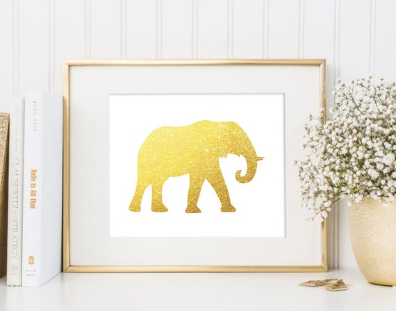 Gold Elephant Wall Decor : Elephant wall art print modern chic home decor by