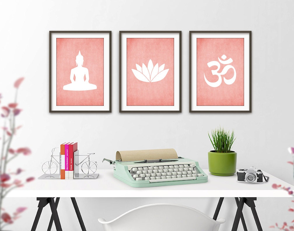 Yoga wall art print set of 3 modern home decor buddha ohm for Yoga decorations home