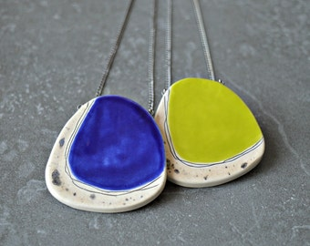 Ceramic statement pendant, lime green necklace, royal blue necklace, geometric jewelry, gift for her