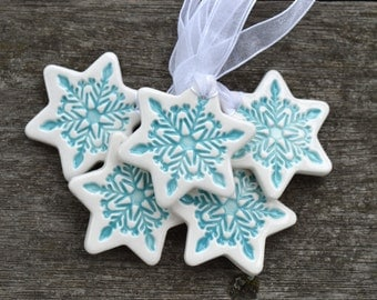 Christmas ornaments, White ceramic Christmas decorations, star ornament, star gift tags, gift for grandparents, Set of 3, 5 or 10