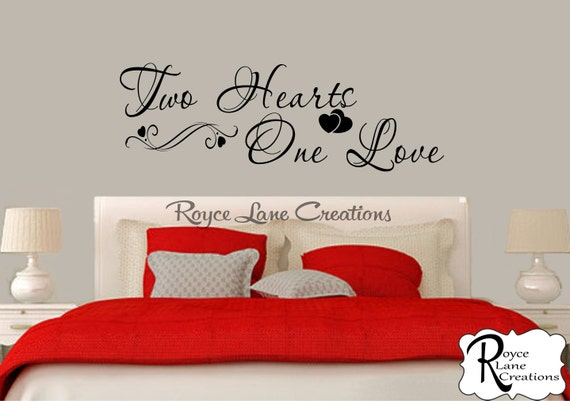 Bedroom Wall Decal Two Hearts One Love Bedroom Decal Bedroom Decor Master Bedroom